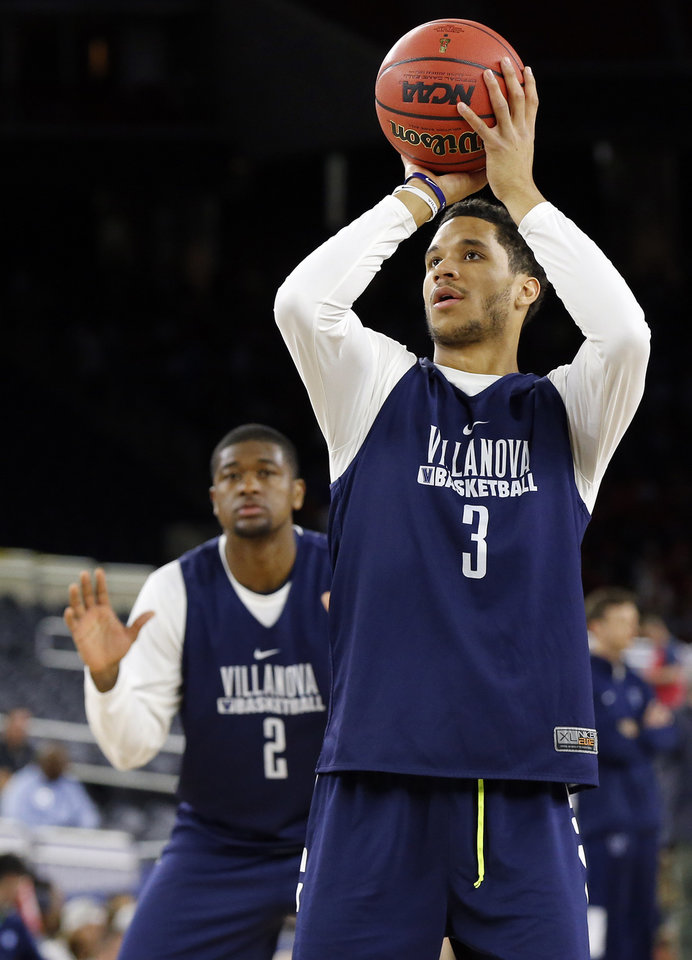 Photo - Villanova's Josh Hart (3) shoots in front of Kris Jenkins (2) during Final Four Friday before the national semifinal between the Oklahoma Sooners and the Villanova Wildcats in the NCAA Men's Basketball Championship at NRG Stadium in Houston, Friday, April 1, 2016. OU will play Villanova in the Final Four on Saturday. Photo by Nate Billings, The Oklahoman