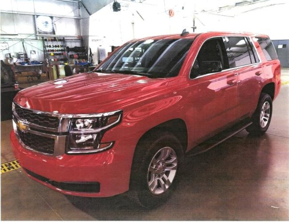 Photo -  The Oklahoma Department of Public Safety bought this red Chevrolet Tahoe this year but now plans to sell it. [Photo provided]