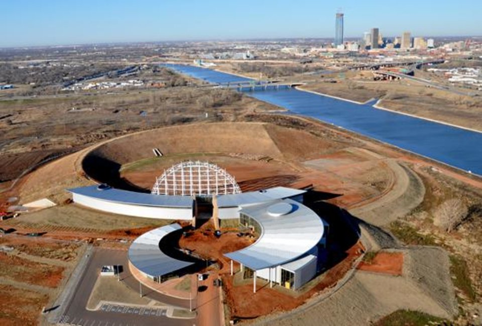 Photo -  The American Indian Cultural Center awaits final funding from the State Legislature. The buildings are substantially finished. It is located on the south shore of the Oklahoma River, west of Eastern Avenue.