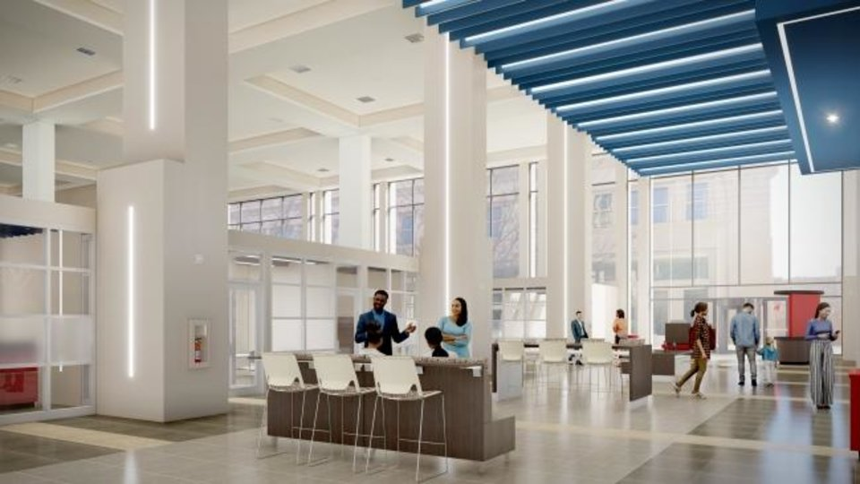 Photo -  Renovations to the two-story lobby at Arvest Tower will include a lobby make-over from darker earthtones to a white and blue color scheme. [PROVIDED]