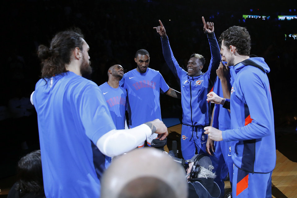 Photo - Oklahoma City gathers before an NBA basketball game between the Oklahoma City Thunder and the Memphis Grizzlies at Chesapeake Energy Arena in Oklahoma City, Wednesday, Dec. 18, 2019. Oklahoma City won 126-122. [Bryan Terry/The Oklahoman]