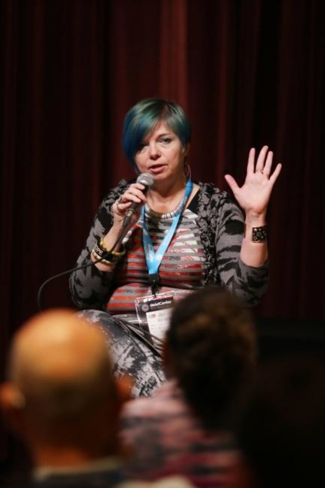 Photo -  Kim Voynar, 2018 Oklahoma Film Icon award winner, speaks during her presentation during deadCenter at 21c Museum Hotel in 2018. An Oklahoma City native, Voynar is curator of  SEEN/UNSEEN: A Festival of Experimental Film May 9-11 at Oklahoma Contemporary Arts Center. [Doug Hoke/The Oklahoman Archives]