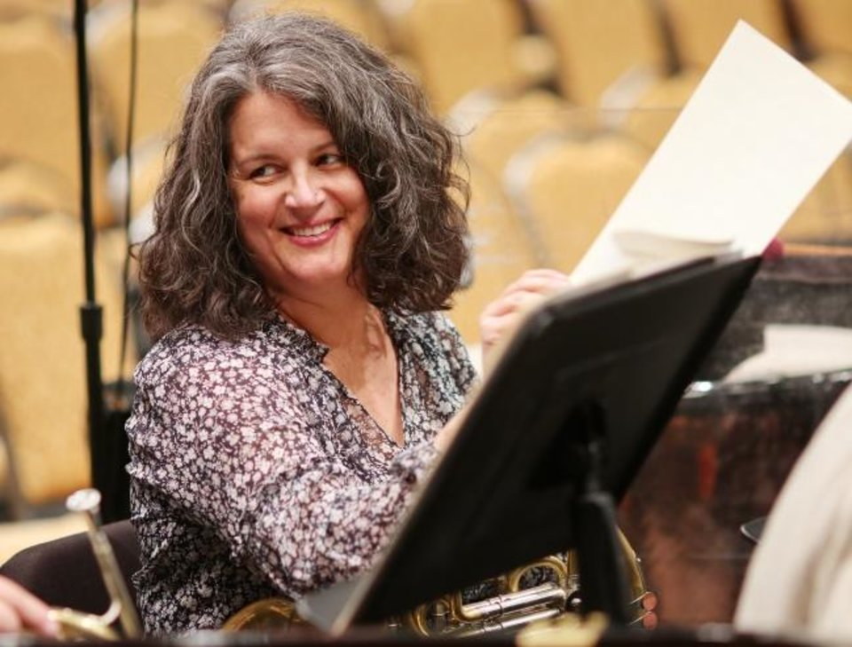 Photo -  Kate Pritchett is the principal horn for the OKC Philharmonic and the  first female principal in the brass section in the philharmonic's history. She teaches at Oklahoma City University, also. [Doug Hoke photos/The Oklahoman]