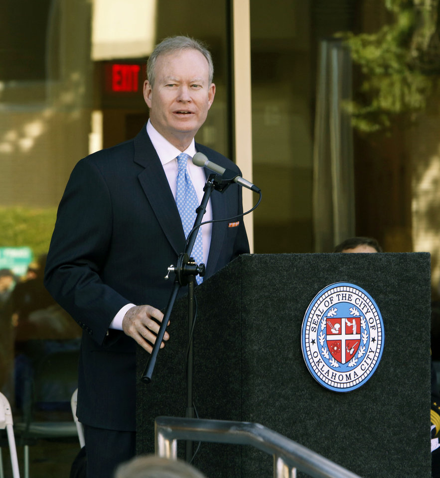 Photo - Oklahoma City Mayor Mick Cornett speaks during a ribbon cutting ceremony for the new Oklahoma City Police Headquarters in Oklahoma City, OK, Monday, November 2, 2015,  Photo by Paul Hellstern, The Oklahoman