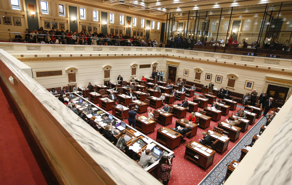 Photo - The Senate chamber during questions about special session House Bill 1019XX on the fifth day of a walkout by Oklahoma teachers at the state Capitol in Oklahoma City, Friday, April 6, 2018. Photo by Nate Billings, The Oklahoman