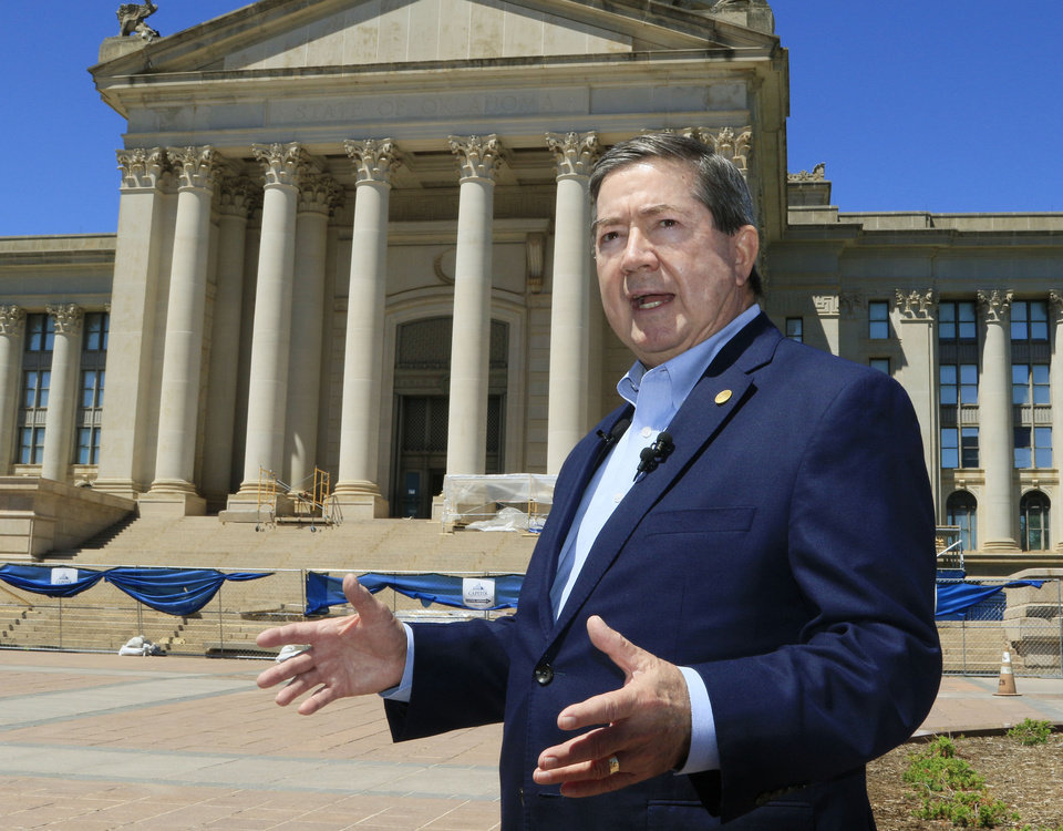 Photo -  Former Attorney General Drew Edmondson, announces his run for governor during a news conference Monday at the state Capitol in Oklahoma City. [Photo by Paul Hellstern, The Oklahoman]