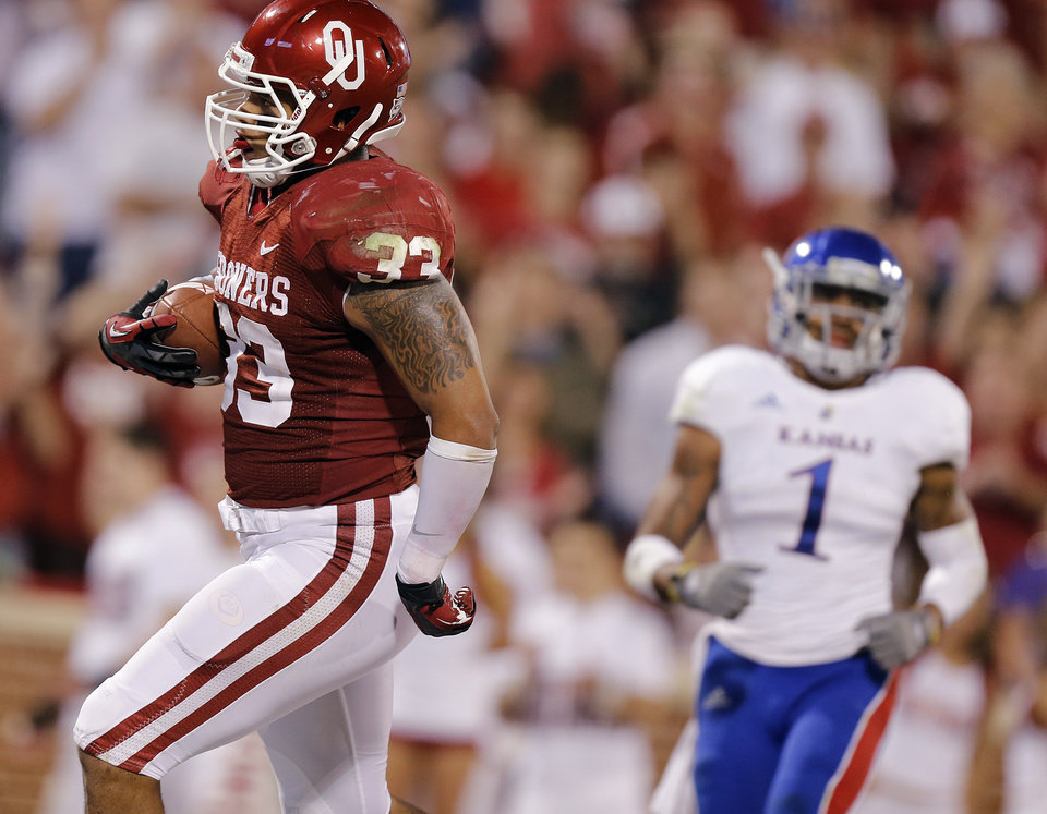 Photo - OU's Trey Millard (33) scores a touchdown in front of KU's Lubbock Smith (1) during the college football game between the University of Oklahoma Sooners (OU) and the University of Kansas Jayhawks (KU) at Gaylord Family-Oklahoma Memorial Stadium on Saturday, Oct. 20th, 2012, in Norman, Okla. Photo by Chris Landsberger, The Oklahoman