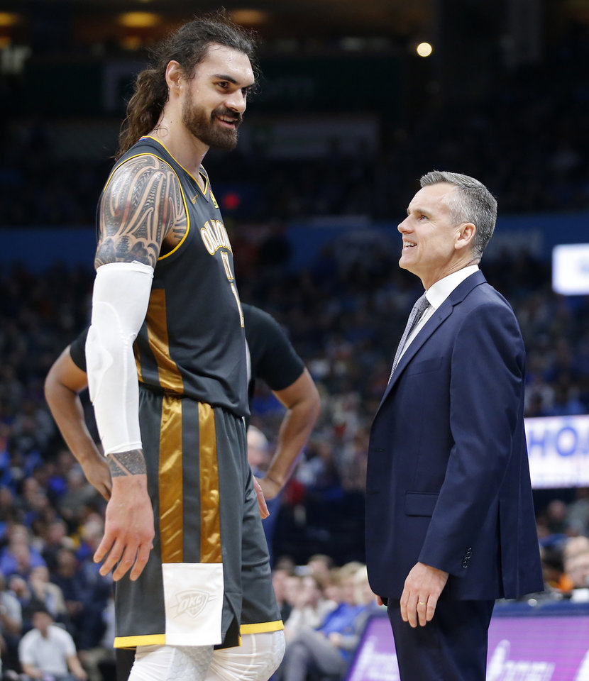 Photo - Oklahoma City's Steven Adams talks with coach Billy Donovan during an NBA basketball game between the Oklahoma City Thunder and Houston Rockets at Chesapeake Energy Arena in Oklahoma City, Thursday, Jan. 9, 2020. [Bryan Terry/The Oklahoman]