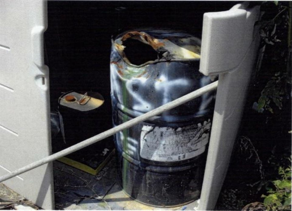 Photo -  A drum containing trichloroethylene is seen at Eagle Industries, 10901 SE 29 St., in Midwest City on Aug. 2, 2007. [Photo provided by Oklahoma Department of Environmental Quality]