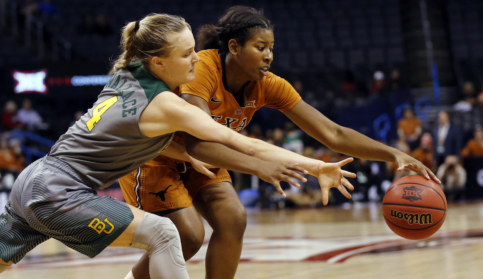 Photo - Baylor's Kristy Wallace (4) tries to steal the ball from Texas' Ariel Atkins (24) during the Big 12 Women's Basketball Championship final between the Texas Longhorns and the Baylor Lady Bears at Chesapeake Energy Arena in Oklahoma City, Monday, March 7, 2016. Photo by Nate Billings, The Oklahoman