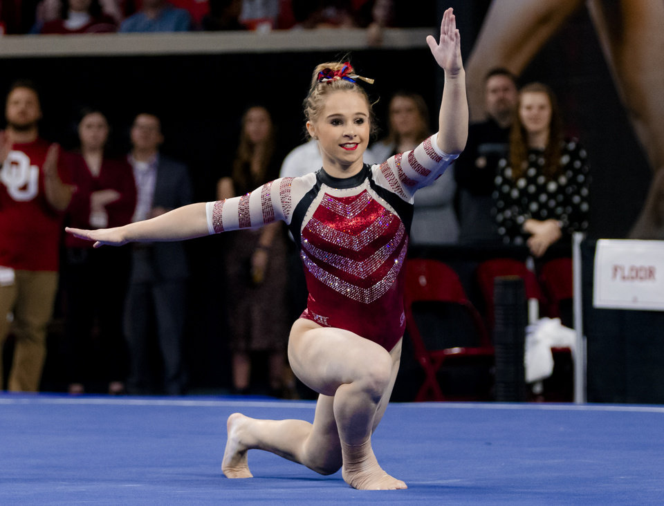 Photo - University of Oklahoma's Ragan Smith competes in the floor routine during the women's gymnastics competition between the University of Oklahoma and Arkansas at the Lloyd Noble Center in Norman, Okla Monday, Jan. 20, 2020.   [Chris Landsberger/The Oklahoman]