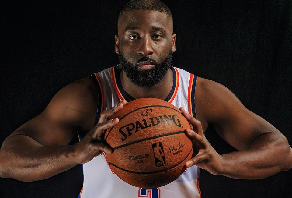 Photo - Raymond Felton poses for a photo during media day at the Chesapeake Energy Arena in Oklahoma City, Okla. on Monday, Sept. 24, 2018. Photo by Chris Landsberger, The Oklahoman
