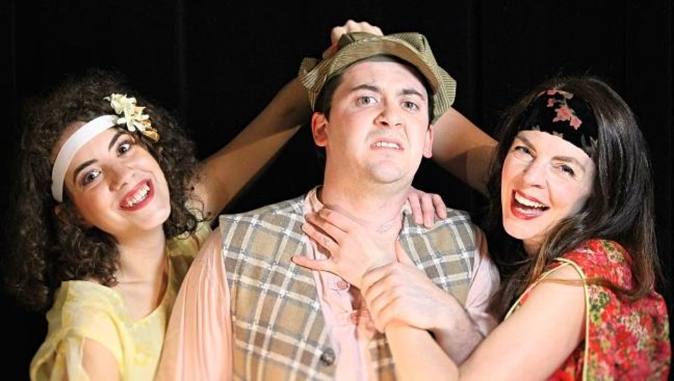 Photo -  From left, Rachel Necessary plays Luciana, Jordan Nicholes plays Dromio of Syracuse, and Rachel Ryan Nicholes plays Adriana in Oklahoma Shakespeare in the Park's production of