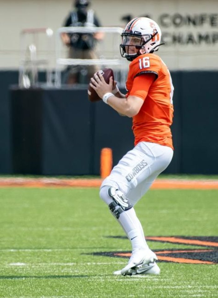 Photo -  Sep 19, 2020; Stillwater, Oklahoma, USA; Oklahoma State Cowboys quarterback Shane Illingworth (16) looks to pass against the Tulsa Golden Hurricane during the second half at Boone Pickens Stadium. Mandatory Credit: Rob Ferguson-USA TODAY Sports