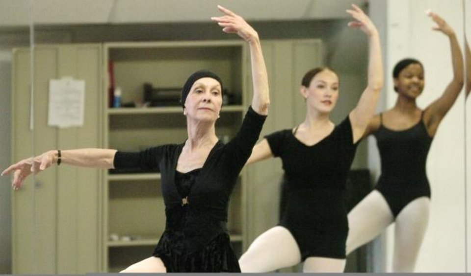 Photo -  In a 2004 photo, Jo Rowan, left, chairman of the Ann Lacy School of American Dance & Entertainment and founder of the Oklahoma City University dance program, works with students Lisa Tschopp, center, and Moenike Sims. [The Oklahoman Archives]
