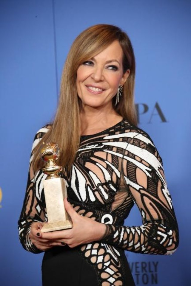 Photo -  Actress Allison Janney's dress from the 2018 Golden Globe Awards is the inspiration for OU's butterfly leotard. [Dan MacMedan/USA TODAY NETWORK]