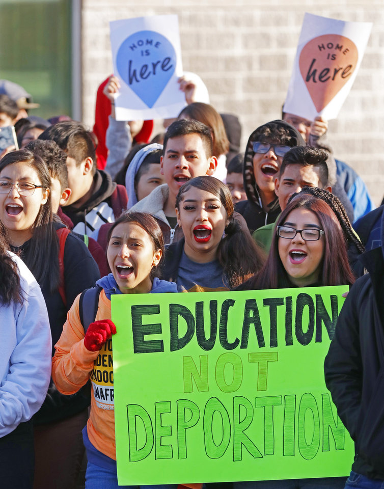 Photo - Students hold signs and chant during the DACA support rally at U.S. Grant High School Friday, November 8, 2019. Photo by Doug Hoke
