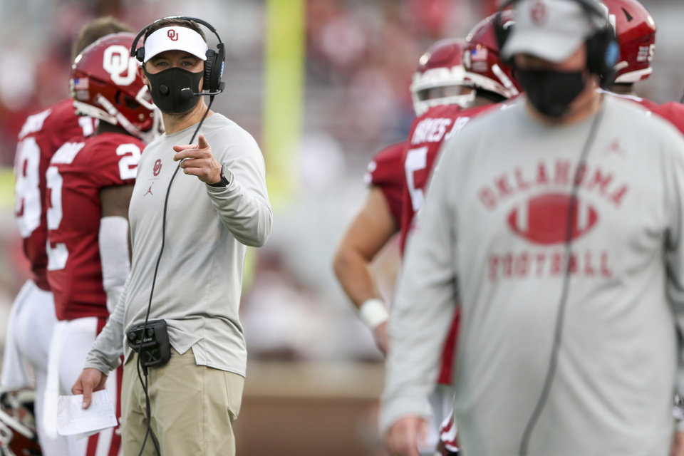 Photo - OU coach Lincoln Riley points to an official during Saturday's game between the Oklahoma Sooners and Missouri State at Gaylord Family-Oklahoma Memorial Stadium. IAN MAULE/Tulsa World