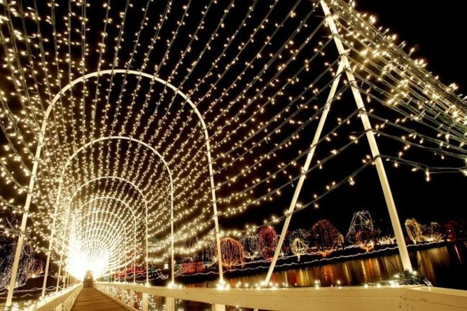 Photo -  The lighted bridge in Shannon Springs Park is a yearly highlight of the long-running Chickasha Festival of Lights. [The Oklahoman Archives]