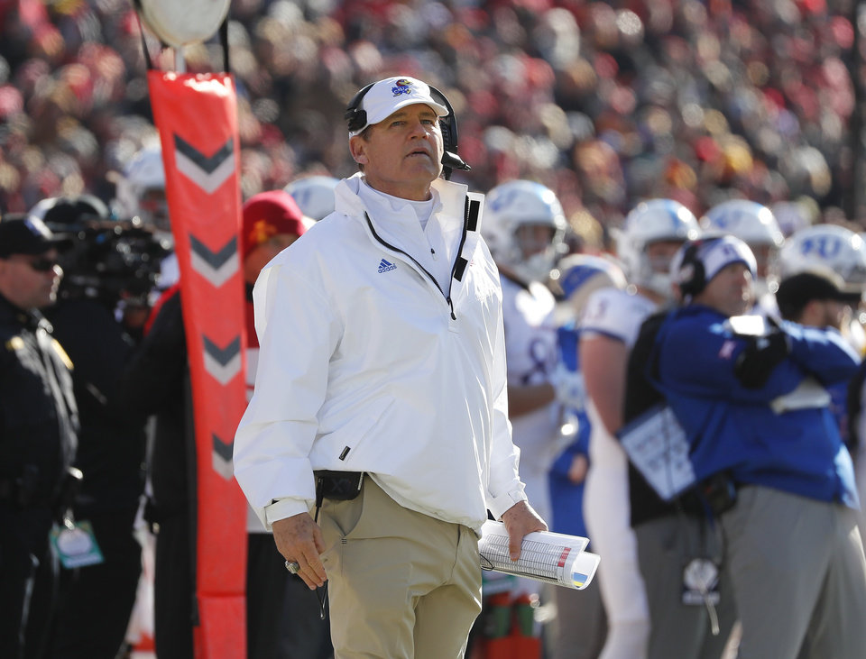 Photo - Kansas head coach Les Miles watches from the sidelines during the first half of an NCAA college football game against Iowa State, Saturday, Nov. 23, 2019, in Ames, Iowa. (AP Photo/Matthew Putney)