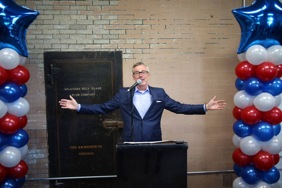 Photo - Rural Sourcing CEO Monty Hamilton speaks during the ceremony during the Rural Sourcing ribbon cutting and open house Wednesday, May 1, 2019. [Doug Hoke/The Oklahoman]