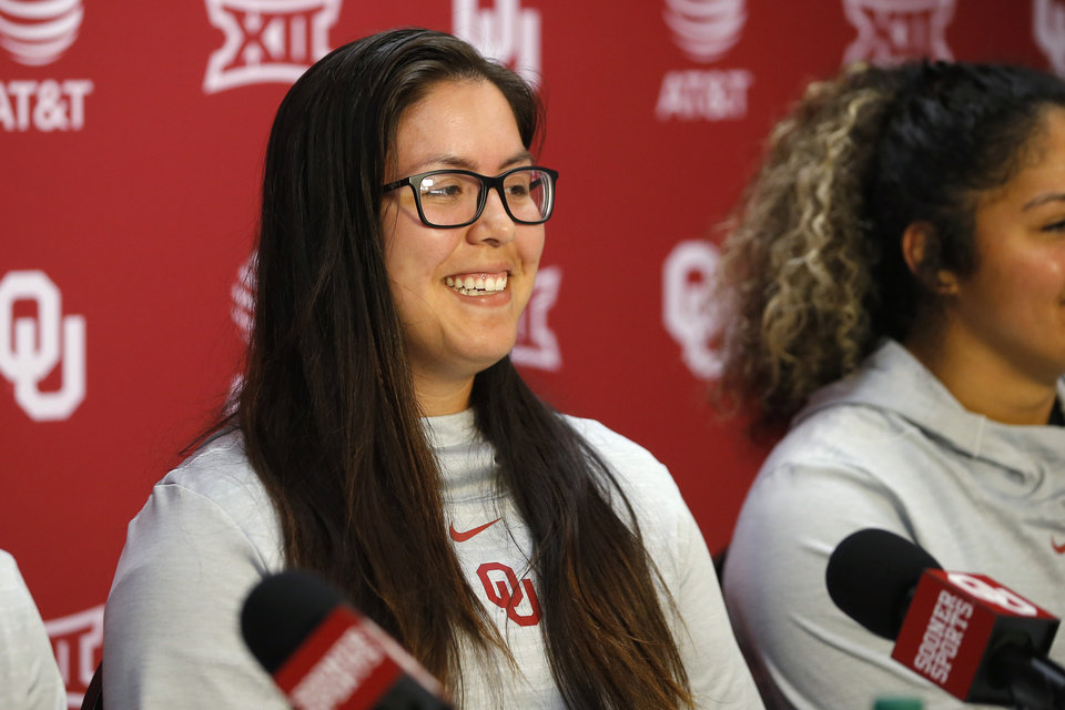 Photo - Oklahoma softball player Giselle Juarez smiles during a press conference in Norman, Tuesday, Jan. 28, 2020. [Bryan Terry/The Oklahoman]