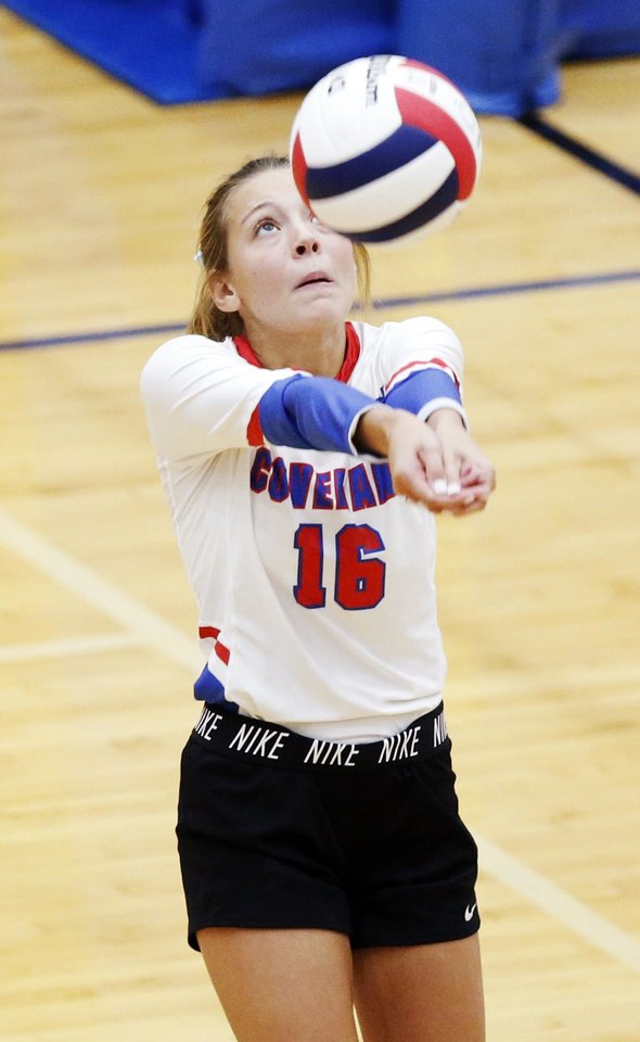 Photo - Southwest Covenant's Kindle Chamberlain (16) hits the ball during a Class 4A quarterfinal game in the state volleyball tournament between Christian Heritage Academy and Southwest Covenant at Choctaw High School in Choctaw, Okla., Friday, Oct. 11, 2019. [Nate Billings/The Oklahoman]