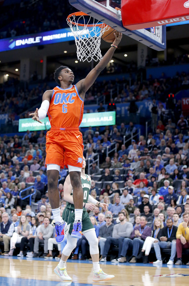Photo - Oklahoma City's Hamidou Diallo (6) goes up for a lay up during the NBA game between the Oklahoma City Thunder and the Milwaukee Bucks at Chesapeake Energy Arena,   Sunday, Nov. 10, 2019.  [Sarah Phipps/The Oklahoman]