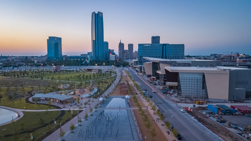 Photo -  Drone image of the Oklahoma City skyline. [THE OKLAHOMAN ARCHIVES]