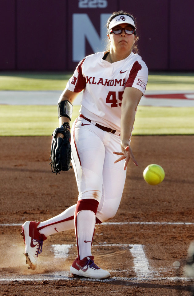 "Photo - Giselle ""G"" Juarez pitches in Bedlam softball as the University of Oklahoma Sooners (OU) play the Oklahoma State Cowboys (OSU) at Marita Hynes Field at the OU Softball Complex on  May 4, 2019 in Norman, Okla.  [Steve Sisney/For The Oklahoman]"