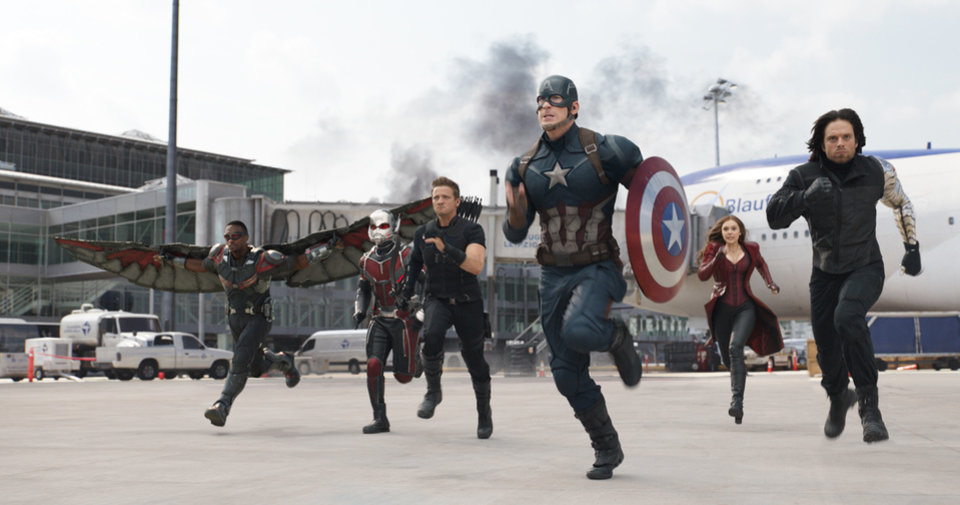 Photo -  From top, Captain   America/Steve Rogers (Chris Evans), Falcon/Sam Wilson (Anthony Mackie), and Scarlet Witch/   Wanda Maximoff (Elizabeth Olsen). [Photo provided   by Marvel]