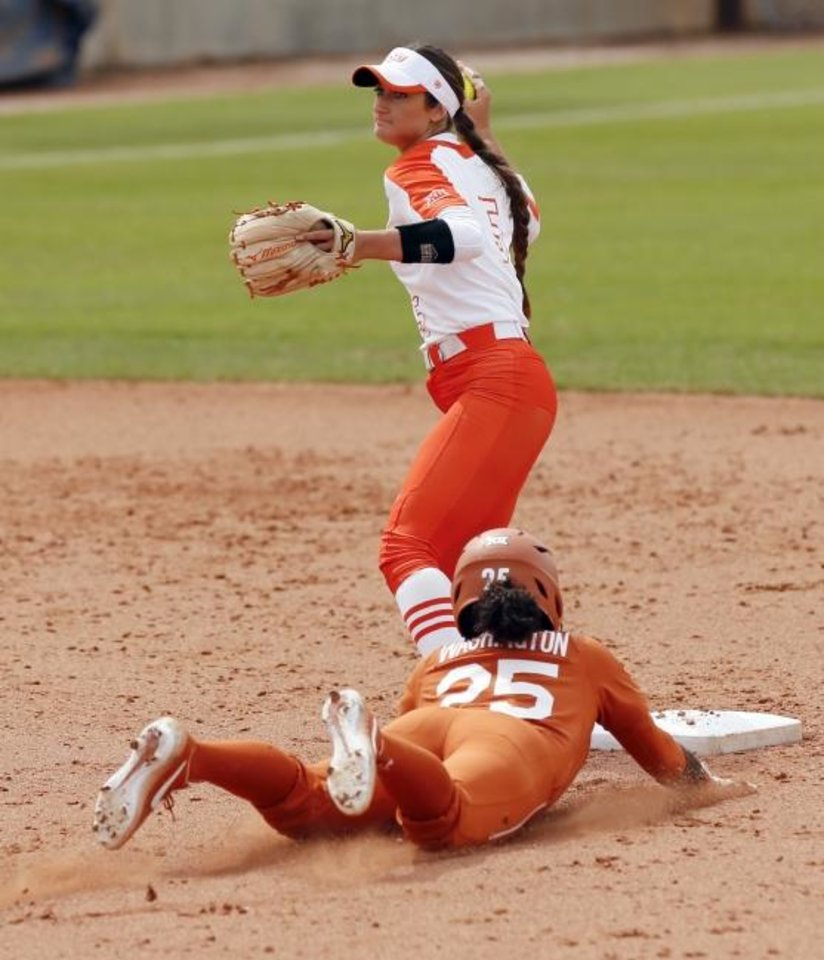 Photo -  Freshman Kiley Naomi has been a standout defender at shortstop for Oklahoma State this season. [Nate Billings/The Oklahoman]