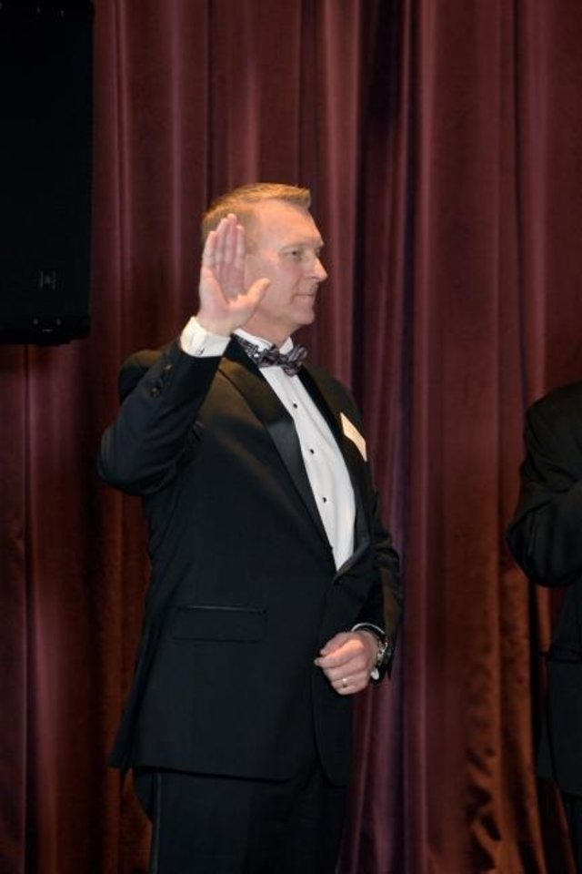 Photo -  Curtis McCarty of Norman is sworn in as 2020 president of the Oklahoma Home Builders Association. [PHOTO PROVIDED]