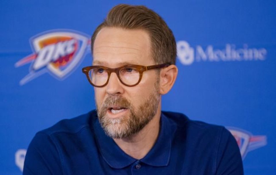 Photo -  General manager Sam Presti and the Thunder own 18 first-round picks through 2027 thanks to Presti's trades of the past two years. [Chris Landsberger/The Oklahoman]