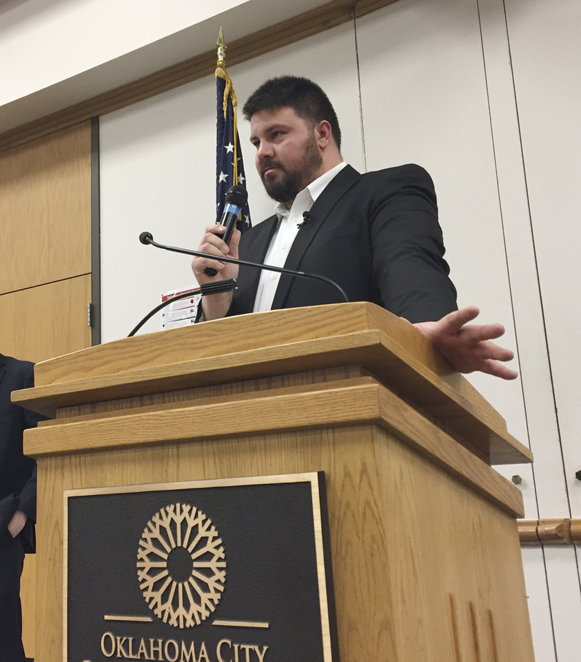 Photo -  State Sen. Ralph Shortey, R-Oklahoma City, takes questions at a town hall meeting this year. [Photo by Dale Denwalt, The Oklahoman]