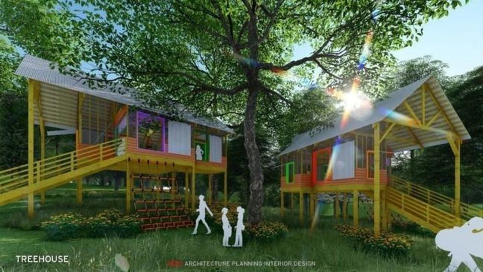Photo -  A rendering by REES Architecture of the treehouses that will be featured at Camp Trivera. The camp will sit on 17 acres just east of the Oklahoma City Zoo. [provided]