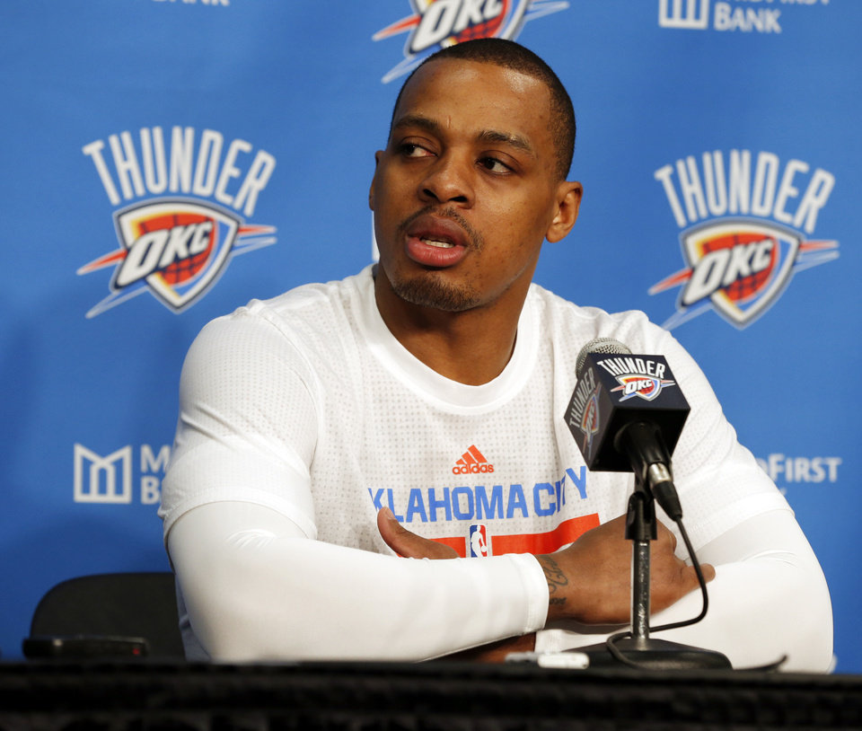 Photo - New Thunder guard Randy Foye speaks at a pre-game news conference before Oklahoma City took on the Indiana Pacers on Friday night at Chesapeake Energy Arena. (Photo by Steve Sisney The Oklahoman)