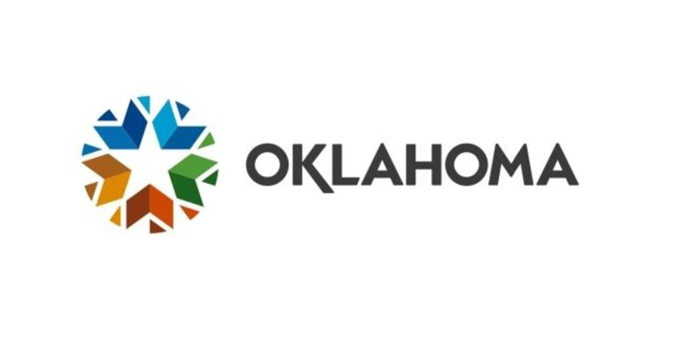 Photo -  Oklahoma's governor and lieutenant governor unveiled the state's new logo Wednesday. The colorful elements were inspired by nature and form a circle intended to highlight Oklahoma as a hub at the center of America.