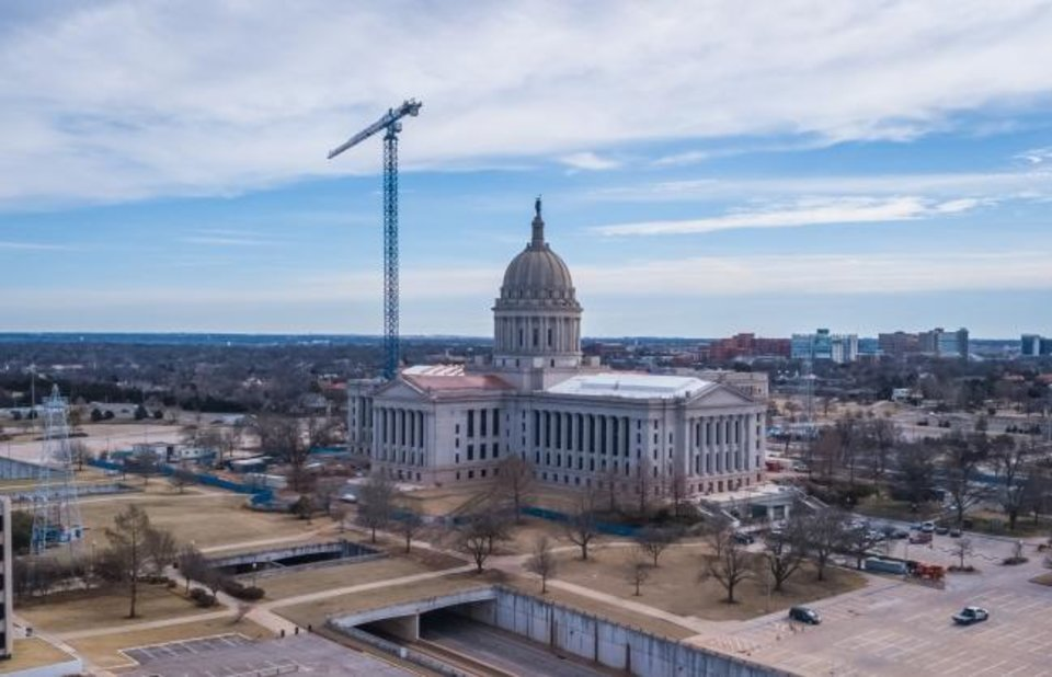 Photo -  The number of initial claims filed for unemployment hit never-before-seen levels last week in Oklahoma and across the nation, the U.S. Department of Labor reported Thursday. Drone image of Oklahoma state capitol building. Image by Dave Morris.