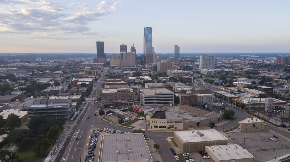 Photo - Drone photo of downtown Oklahoma City skyline from Midtown. [The Oklahoman archives]