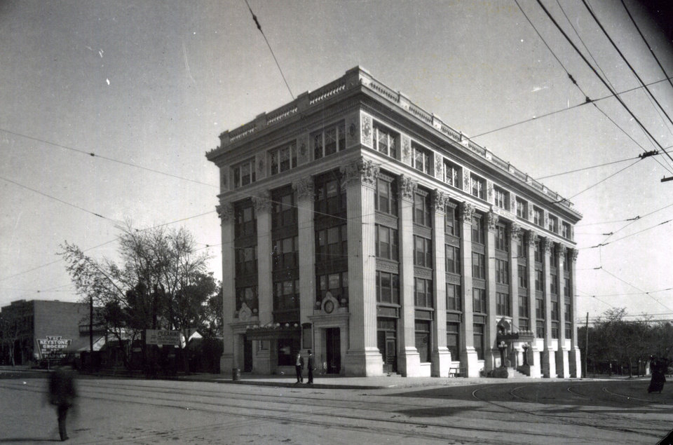 Photo -  Fifth home for The Oklahoman, 500 N Broadway, 1910-1991 E.K. Gaylord wasted no time building a new home for The Oklahoman, hiring the state's most renowned architect Andrew Solomon Layton to oversee designs. Over the next several decades the operation grew to include pioneering efforts in radio and television.