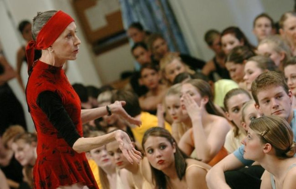 Photo -  In a 2005 photo, Jo Rowan, founder of the Oklahoma City University dance program, gives notes and pointers to her students after a rehearsal for their spring performance.  [The Oklahoman Archives]