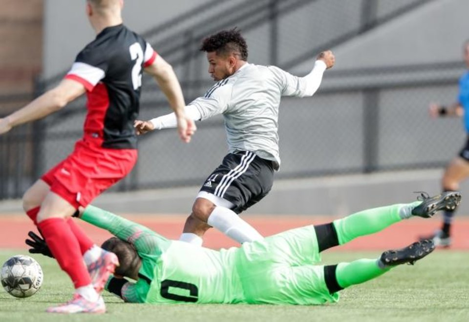 Photo -  Frank Lopez scored two goals for Energy FC Saturday in its preseason win over the Mid-America Christian University Evangels at Taft Stadium in Oklahoma City. [PHOTO PROVIDED]