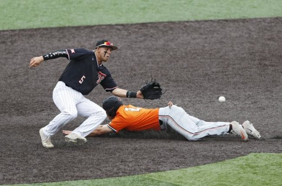 Photo -  Oklahoma State's Christian Funk (2) slides into second base around Texas Tech's Brian Klein (5) during the first inning of Game 3 Sunday night in Lubbock, Texas. [AP Photo/Brad Tollefson]
