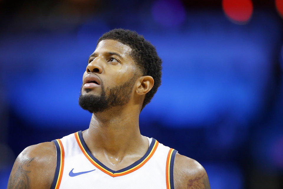 Photo - Oklahoma City Thunder's Paul George (13) during an NBA basketball game between the Oklahoma City Thunder and the Los Angeles Clippers at Chesapeake Energy Arena in Oklahoma City, Saturday, Dec. 15, 2018. Oklahoma City won 110-104. Photo by Bryan Terry, The Oklahoman