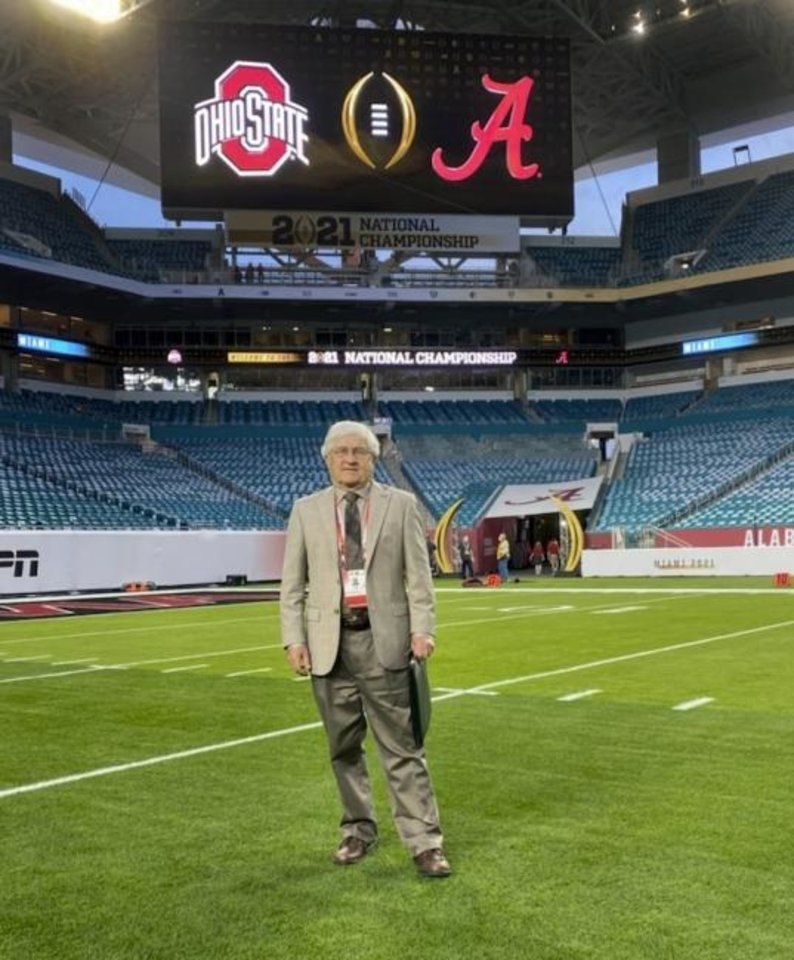 Photo -  Longtime Norman resident David Gore worked the game clock during Monday's national championship game. He spent decades as an on-field official, but for more than a decade, he's been a clock operator for Big 12 football games. [PHOTO PROVIDED]