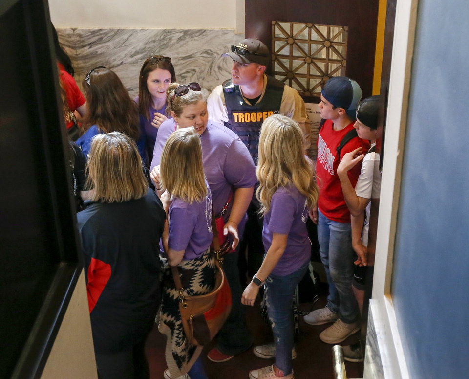 Photo - People enter the Senate gallery as the doors are opened to the public in the afternoon during the eighth day of a walkout by Oklahoma teachers at the state Capitol in Oklahoma City, Monday, April 9, 2018. Photo by Nate Billings, The Oklahoman