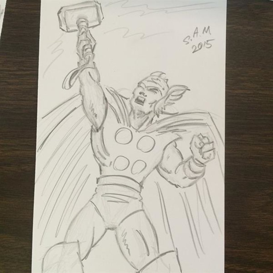 Photo - A Thor sketch by S.A. McClung during Free Comic Book Day 2015. [photo by Matthew Price, The Oklahoman]