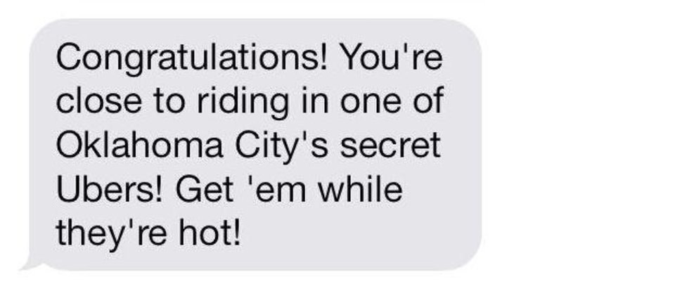 Photo - A text welcomes Uber users to the ridesharing service, which arrived in Oklahoma City late last week.