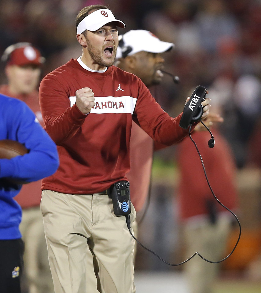 Photo - Oklahoma coach Lincoln Riley shouts towards an official during a college football game between the University of Oklahoma Sooners (OU) and the Kansas Jayhawks (KU) at Gaylord Family-Oklahoma Memorial Stadium in Norman, Okla., Saturday, Nov. 17, 2018. Photo by Bryan Terry, The Oklahoman